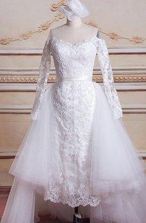 Mini Long Sleeve Tulle Lace Satin Weddig Dress