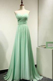 Long Mint Green Chiffon Bridesmaid Dress