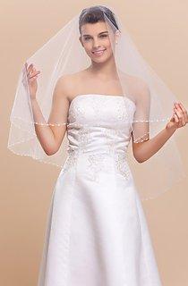 Stunning Mantilla Fingertip Wedding Veil With Pearl Trim Edge