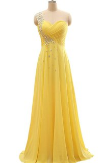 Floor-length One-Shoulder Chiffon Pleats Beading Dress