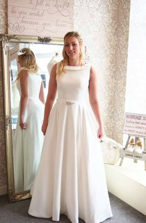 Full Length A-Line Satin Wedding Dress With Beaded Sash