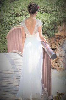 Plunged Short Sleeve Chiffon Long Wedding Dress With Lace Top