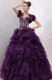Strapless Organza Quinceanera Dress With Ruffles And Crystal Detailing