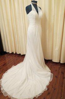Halter Empire Sheath Chiffon Wedding Dress With Ruching And Lace-Up Back