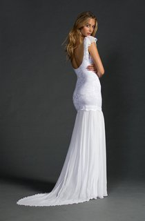 Grace Ruffled Cap Sleeve Low-V Neck Mermaid Lace Gown With Chiffon Skirt