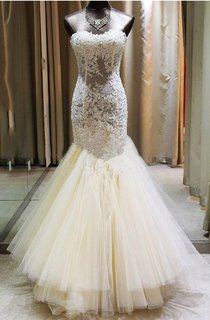 Sexy Sweetheart Lace Appliques Mermaid Wedding Dresses 2016 Tulle Floor Length