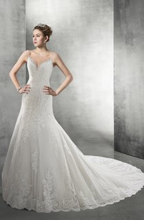 Royal Backless Lace Wedding Dress With Beaded Spaghetti Straps