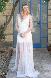 Spaghetti Lace Chiffon Short Wedding Dress With Sweep Train