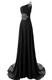 Gorgeous One-shoulder Court Train With Crystal Embellishments