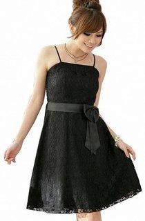 Spaghetti Straps A-line Lace Dress With Sash