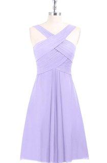 Chiffon Knee Length A-Line Sleeveless Dress With Ruching and Crisscross Bandage