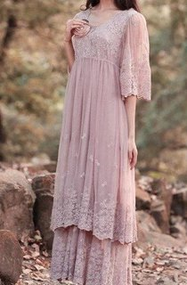 Lace Dress With Tiers&Flower&Embroideries