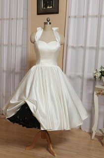 Halter Tea-Length Satin Wedding Dress With Bow And Lace-Up Back