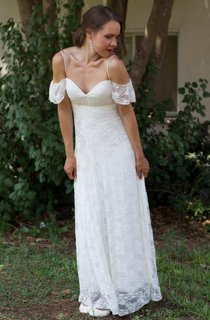 Spaghetti Off-The-Shoulder Lace Pleated Floor-Length Wedding Dress