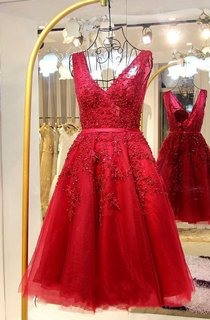 Sleeveless A-line Appliques Tulle Lace Dress