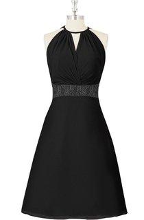 Sleeveless A-Line Knee Length Chiffon Dress With Jewel Neckline and Lace Waistband