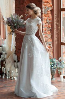 A-Line Tulle Organza Satin Lace Embroidered Wedding Dress