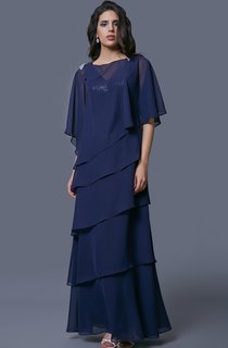 Elegant Multi-tiered Beaded Long Capelet Chiffon Dress