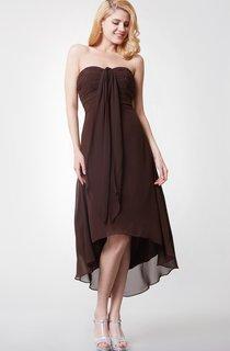 Shinning Sleeveless Empire Waist Tea-length Chiffon Dress With Ruching