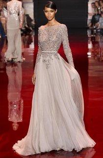 A-line Princess High Neck Long Sleeves Applique Floor-length Chiffon Dress