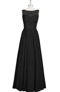 Chiffon A-Line Bateau Neck Sleeveless Dress With Ruching and Lace Top