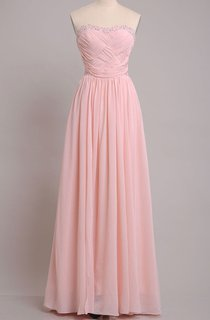 Sweetheart Sheath Chiffon Floor-length Dress With Beading and Pleats