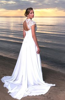 V-Neck Long A-Line Chiffon and Lace Wedding Dress With Cap Sleeves