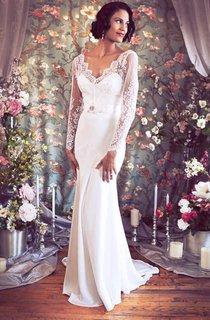 V-Neck Low-V Back Sheath Satin Wedding Dress With Sash And Flower