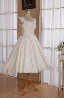 Straps Sleeveless Lace-Up Back Tea-Length Satin Wedding Dress