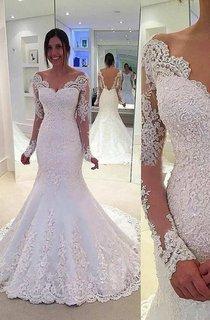Long Lace Sleeve V Neck Mermaid Long Lace Dress