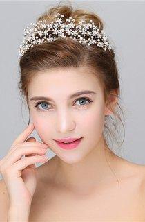 Western Style Atmospheric Golden Crown Headdress Rhinestone Hairband Headdress
