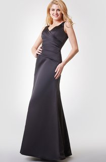 V-back A-line Long Chiffon Dress With Straps
