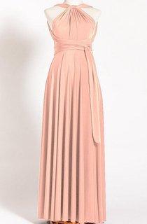 Tea-length Long Jersey&Satin Dress