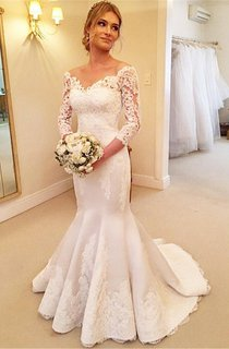 Modern Off-the-shoulder 3 4-longth-sleeve Mermaid Wedding Dress With Lace Appliques