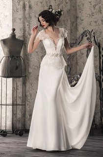 Lace Satin Weddig Dress With Illusion Lace-Up Back