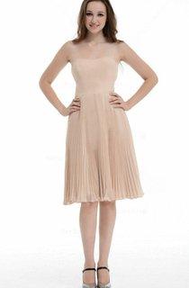 A-line Knee-length Strapless Chiffon&Taffeta Dress With Ruffles