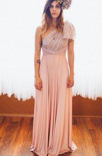 Strapped Lace&Jersey&Satin Dress