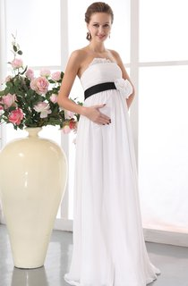 Chiffon Maternity Strapless Gown With Floral Waistband