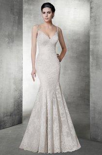 Sexy Mermaid V Neck Lace Wedding Dress