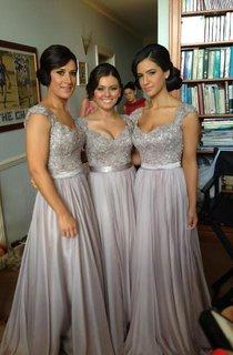 Wholesale Vestido De Madrinha Elegant Bridesmaid Dress 2016 Sliver Chiffon With Lace Appliques