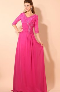 Half-sleeved V-neck Gown With Lace Bodice