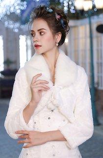 Bridal Wedding Winter Warm Short-Sleeved Plush Jacket