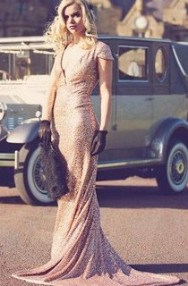 Rose Gold Paillettes Old Hollywood Dress