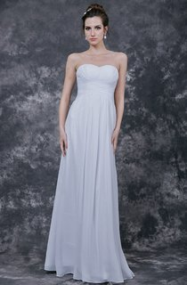 Simplistic Strapless Ruched Bodice Chiffon Dress With Sweetheart Neckline