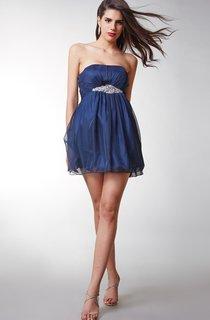 Stunning Strapless Cocktai Chiffon Dress With Beaded Waist