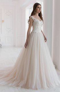 A-Line Tulle Cap-Sleeve Illusion Wedding Dress With Appliques