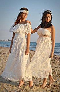 Boho Off-The-Shoulder Empire Anckle-Length Lace Wedding Dress With Sash