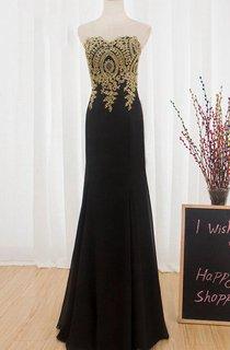 Round Neck Chiffon Sexy Gold Lace Long Prom Black Mermaid Formal Dress