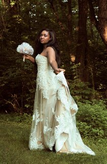 Lace Satin Weddig Dress With Beading