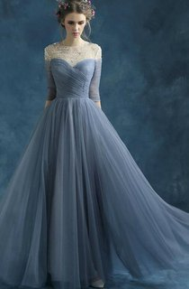 A-line Half Sleeve Long Draping Beading Tulle Dress
